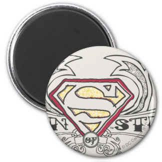 Man of Steel Drawn with Texture 2 Inch Round Magnet