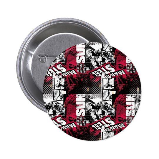 Man of Steel Red Pattern Button