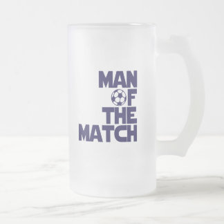 man of the match frosted glass beer mug