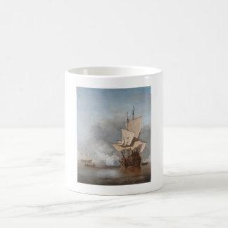 Man-Of-War Firing A Cannon Shot Coffee Mug