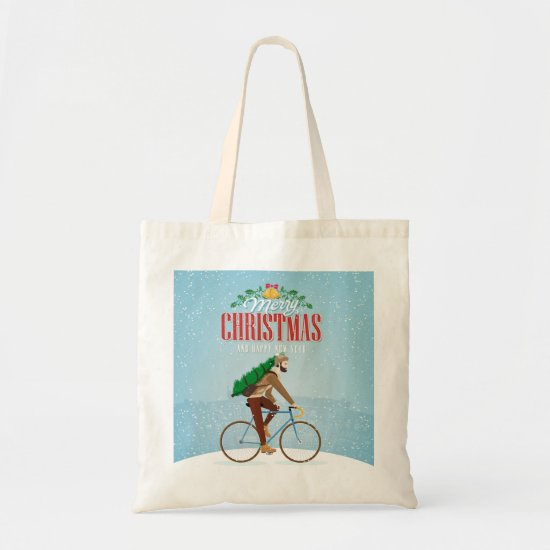 Man on a Bicycle in Winter Christmas Tote Bag