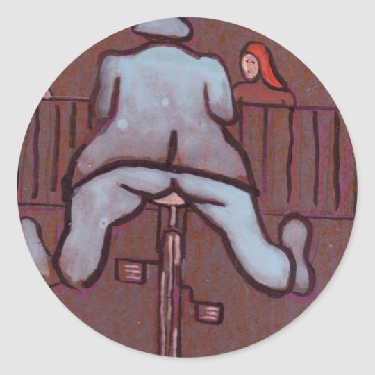 MAN ON A CYCLE CLASSIC ROUND STICKER
