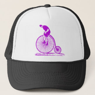 Man on a Penny Farthing - Purple Trucker Hat