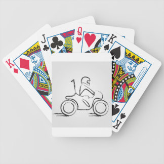 Man on a scooter bicycle playing cards