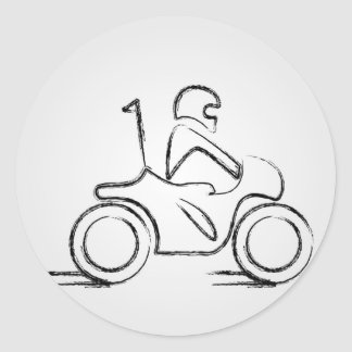 Man on a scooter classic round sticker