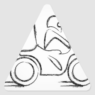 Man on a scooter triangle sticker
