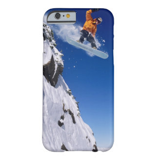 Man on a snowboard jumping off a cornice at barely there iPhone 6 case