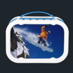 """Man on a snowboard jumping off a cornice at lunch box<br><div class=""""desc"""">COPYRIGHT James Kay / DanitaDelimont.com   US45 JKA0141.jpg   Man on a snowboard jumping off a cornice at Snowbird Resort in Little Cottonwood Canyon in the Wasatch Mountains of northern Utah. (MR)</div>"""