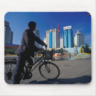 Man on Bicycle and High-rises of Kunming China Mouse Pads