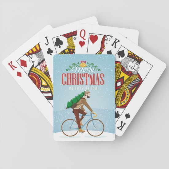 Man on Bicycle Christmas Cards
