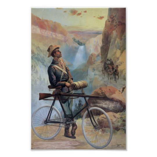 Man on Bicycle, Yellowstone National Park Vintage Poster