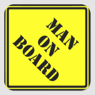 Man on Board Square Stickers