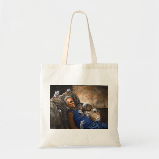 Man on couch with Rats tote bag