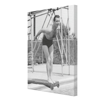 Man on Diving Board Canvas Print
