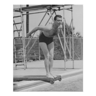 Man on Diving Board Poster