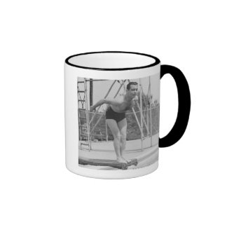 Man on Diving Board Ringer Coffee Mug
