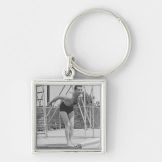 Man on Diving Board Silver-Colored Square Keychain
