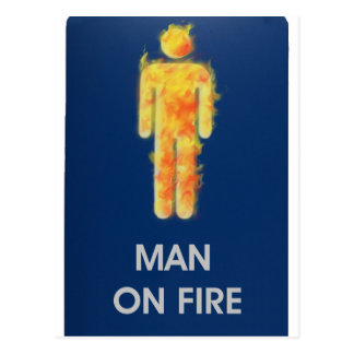 MAN ON FIRE POSTCARD