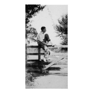 Man On Gate Old Black & White Image Photocard Card
