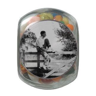 Man On Gate Old Image Glass Jelly Belly Jar Glass Candy Jar