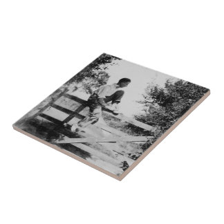 Man On Gate - Small Ceramic Photo Tile