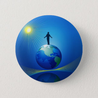 Man on Globe Button