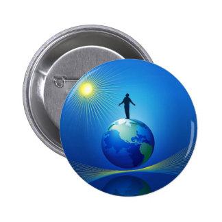 Man on Globe Button