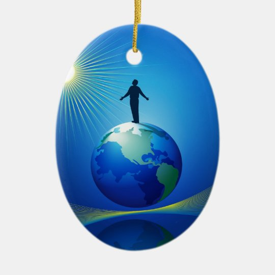 Man on Globe Ceramic Ornament