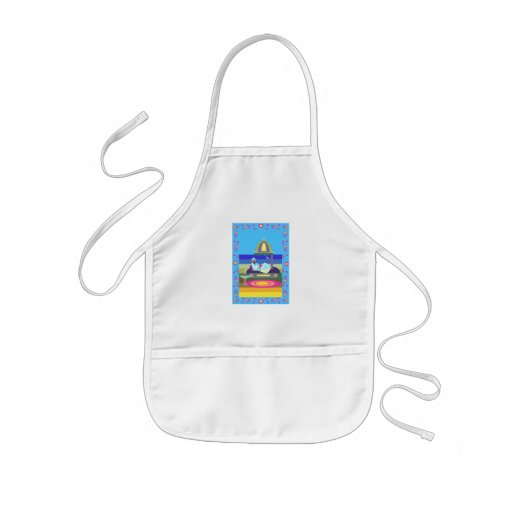 Man on holiday aprons