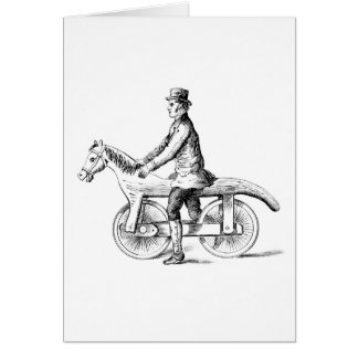 Man on horse bicycle print card