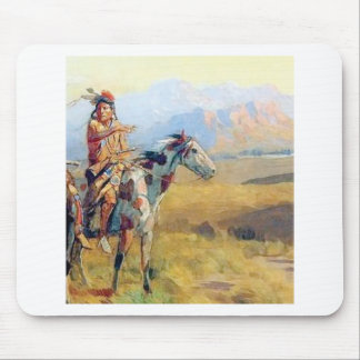 man on horse rides indian mouse pad