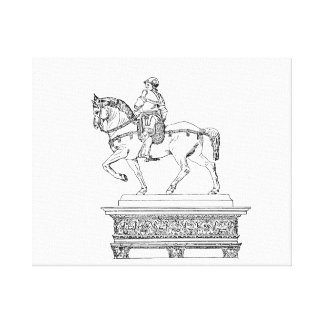 Man on horse vintage jagged animal drawing.png canvas print