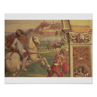 Man on Horseback, from the Life of St. Benedict (f Poster
