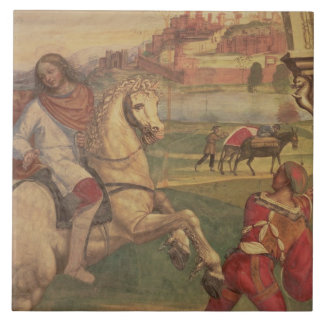 Man on Horseback, from the Life of St. Benedict (f Ceramic Tile