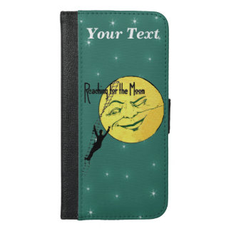 Man On Ladder Reaching for Big Yellow Moon Face iPhone 6/6s Plus Wallet Case