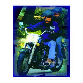 Man on Motorcycle - Blue Postcard
