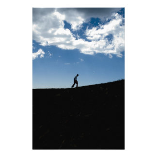 Man on Mountain Silhouette Stationery