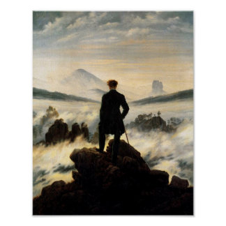 Man on Mountain Top Vintage Poster