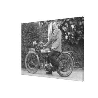 Man on Old B.S.A. Motorbike Canvas Print