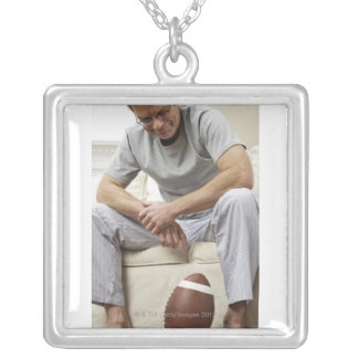 Man on Sofa with Football Square Pendant Necklace