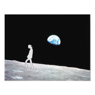 Man on the moon 4.25x5.5 paper invitation card