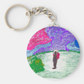 Man on the Moon, pastel button Key Chain