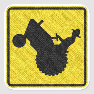 Man on Tractor Sign Display Diagonally Square Sticker