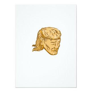 Man Open Head Brain Etching 5.5x7.5 Paper Invitation Card