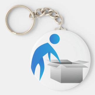 Man Opening Box Stick Figure Icon Basic Round Button Keychain