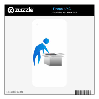 Man Opening Box Stick Figure Icon Decals For The iPhone 4