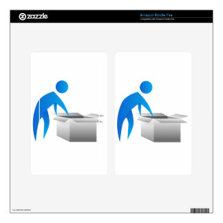 Man Opening Box Stick Figure Icon Skin For Kindle Fire