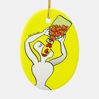 Man overdosing on heart pills Double-Sided oval ceramic christmas ornament