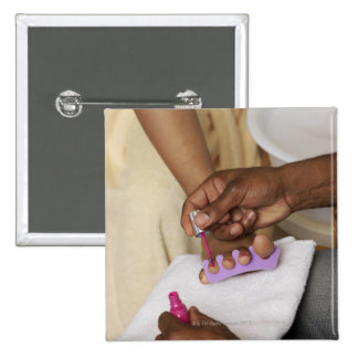 Man Painting Woman's Toes Pinback Button