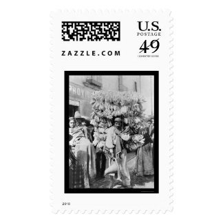 Man Peddling Corn Husks in Mexico 1895 Postage Stamps